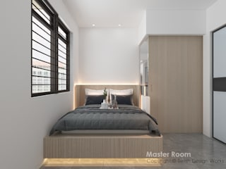 Swish Design Works Small bedroom Plywood Wood effect