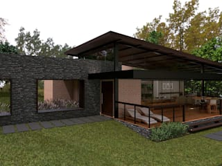 Rustic style houses by Élcio Bianchini Projetos Rustic