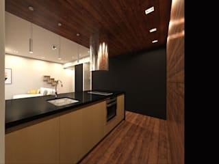 Kitchinet / Living room Linhas Simples Small kitchens