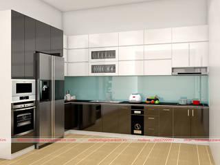 Mẫu tủ bếp acrylic mang phong cách đơn giản, hiện đại Nội thất Nguyễn Kim đã thi công bởi Nội thất Nguyễn Kim