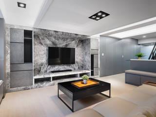 台中市-朱公館 现代客厅設計點子、靈感 & 圖片 根據 達睿室內裝修國際事業有限公司 現代風