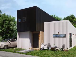 입체적인 면을 살려 가곡에 따라 대비되는 아름다움을 가진 주택 by 공간제작소(주) 모던