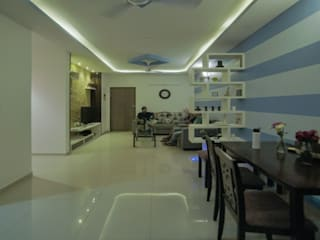 Flat interior Design with False ceiling and Painting at Sobha Dream acre Modern living room by Design-O-Dwells Modern