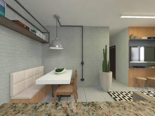 Apartamento pequeno e rústico Salas de jantar minimalistas por Lorena Porto - Arquitetura e Interiores Minimalista