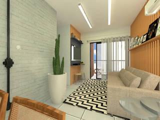 Apartamento pequeno e rústico Salas de estar rústicas por Lorena Porto - Arquitetura e Interiores Rústico