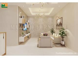 Thi công nội thất chung cư TP.HCM Thiết kế nội thất trọn gói Phòng khách Cục đá Green