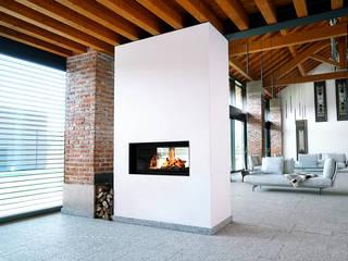 Caminetti ad accumulo di calore Soggiorno moderno di Prometeo Stufe Moderno