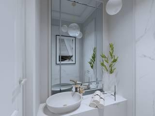ŁAZIENKA W MARMURACH EFEKTOWNE WNĘTRZA - JUSTYNA ŁUCKA Klasyczna łazienka Kwarc Biały