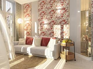 Дизайн-проект кухни-гостиной 28 кв.м в солнечном Геленджике Гостиная в средиземноморском стиле от Студия дизайна 'Сторица' Средиземноморский