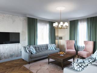 Зеленая гостиная-столовая в загородном доме. Гостиная в классическом стиле от Дизайн-студия интерьера и ландшафта 'Деметра' Классический