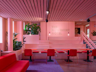 The Movement hotel, Bijlmer Bajes prison, Amsterdam ÈMCÉ interior architecture Modern hotels Pink