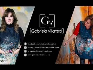 Banner Gabriela Villarreal Galeria de arte Museos de estilo moderno Ámbar/Dorado
