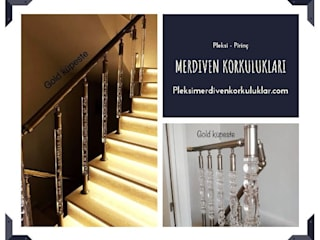 Yeni merdiven korkulukları Küpeşte Pleksi Merdivenler Plastik Altın Sarısı