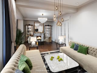Архитектурное бюро «Парижские интерьеры» ห้องนั่งเล่น