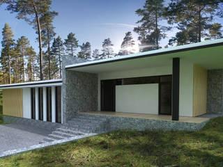 Одноэтажный частный дом с плоской крышей. Дома в стиле минимализм от PALIY Architects Минимализм
