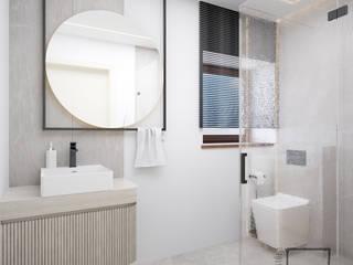 Prestiżowy Minimalistyczna łazienka od 4 kąty a stół 5 Pracownia Projektowa Ewelina Białobrzewska Minimalistyczny