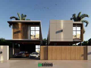 Twin house โดย The OnGround บริษัทรับสร้างบ้านสไตล์ Modern Japanese ผสมผสาน