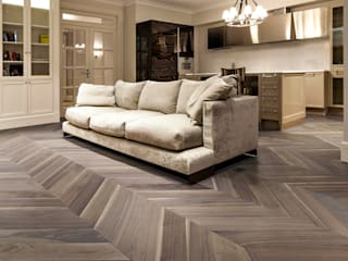 Cadorin Group - Chevron - American Walnut Salas de estilo rústico de Cadorin Group Srl - Top Quality Wood Flooring Rústico