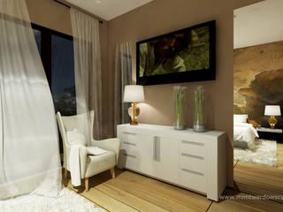 DOM Sypialnia z przepiękną tapetą :) od mimtwardowscy