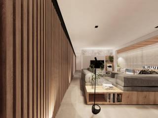 Saulo Magno Arquiteto Ruang Keluarga Minimalis Kayu White