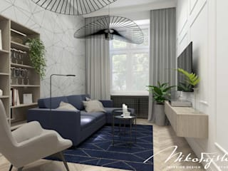 Modern living room by MIKOŁAJSKAstudio Modern