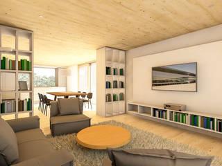 Haus E - Einfamilienhaus als Effizienzhaus KfW40+ Moderne Wohnzimmer von Steffen Wurster Freier Architekt Modern
