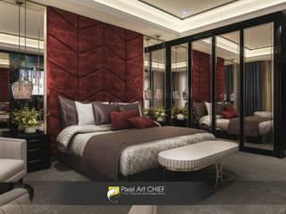Azerbaycan Otel Projesi Pixel Art CHIEF Modern Oteller Ahşap Kırmızı
