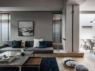 浮光之間 Floating light 现代客厅設計點子、靈感 & 圖片 根據 大也國際空間設計/藝術中心 現代風