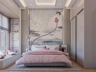 De Panache Dormitorios pequeños Azulejos Beige