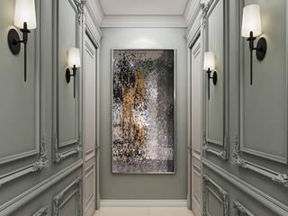 De Panache Pasillos, vestíbulos y escaleras de estilo clásico Tablero DM Beige