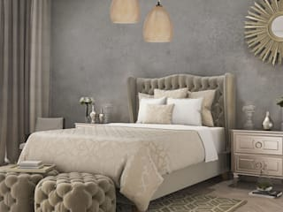 Bedroom's inspiration decorated by lighting from LuxuryChandelier.co.uk Luxury Chandelier Small bedroom Sandstone Grey