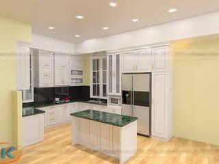 Đánh giá chất lượng tủ bếp gỗ sồi nga sơn trắng bởi Nội thất Nguyễn Kim