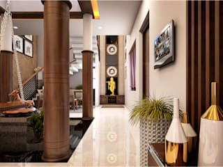 Monnaie Interiors Pvt Ltd Asian corridor, hallway & stairs