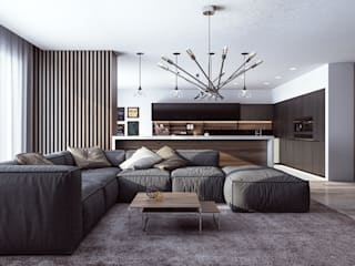 Апартаманты для молодой пары Гостиная в стиле минимализм от Samotaev Alexey Минимализм