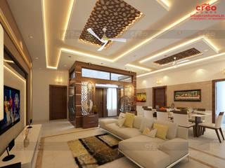 Creo Homes Pvt Ltd Soggiorno in stile asiatico