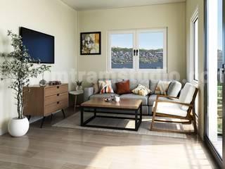 Modern Living & Kitchen Modelling Design by Yantram 3D Interior Rendering Services de Yantram Architectural Design Studio Asiático