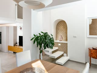 manuarino architettura design comunicazione Mediterranean corridor, hallway & stairs Wood White