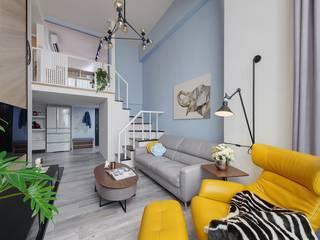 Salon scandinave par 微自然室內裝修設計有限公司 Scandinave