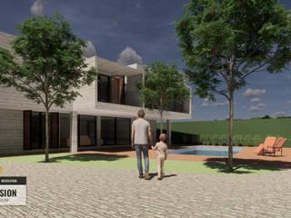 Arquitecto Rafael Balbi Case in stile minimalista Cemento armato Grigio