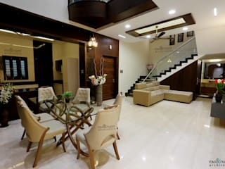 RAVI - NUPUR ARCHITECTS Living room Stone Amber/Gold