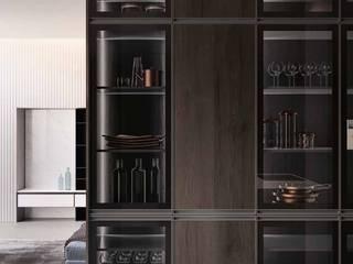 Zona giorno, cucina e living moderno con ante a telaio in alluminio titanio di Meka Arredamenti Moderno