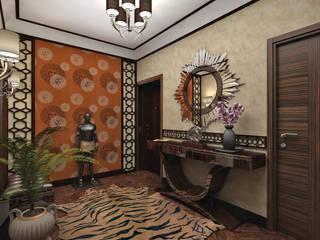 """Квартира """"Африканские мотивы"""" Коридор, прихожая и лестница в тропическом стиле от Студия дизайна интерьеров Тропический"""