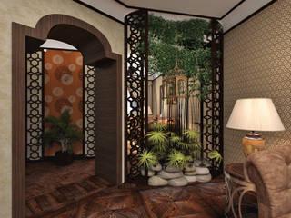 """Квартира """"Африканские мотивы"""" Гостиная в тропическом стиле от Студия дизайна интерьеров Тропический"""
