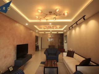 Brigade Gardenia Annexe 3bhk Modern living room by Larq Design Pvt Ltd Modern