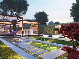 Открытая зона с декоративным водоемом и фонтанами в частной резиденции от Нерис СпаАрт Модерн