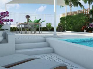 Открытая зона с бассейном для частного дома от Нерис СпаАрт Модерн