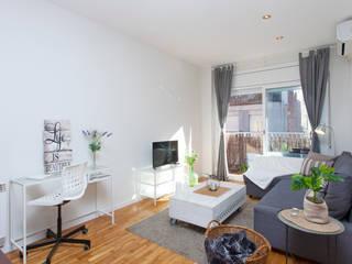Decoración Integral piso 2hab. para alquiler en Gracia Salones de estilo escandinavo de Lala Decor HomeStaging & Reformas Integrales de pisos Escandinavo