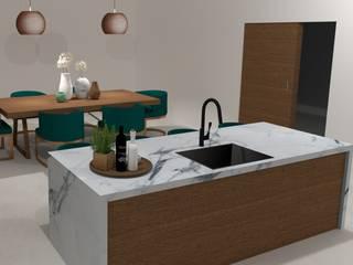 Projeto 3D - Cozinha Cozinhas modernas por Móveis Santa Comba Moderno