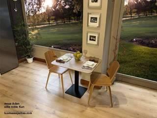 Mesas de cocina, comedor u hosteleria con pie central, de diseño moderno, son estables pueden ser fijas o extensibles y con amplias posibilidades de tamaños medidas e incluso con las esquinas redondeadas de Tusmesasysillas.com Escandinavo