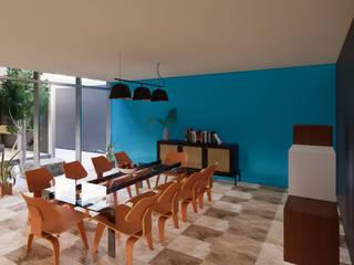 juanbarahona_19 Столовая комната в колониальном стиле Бетон Синий